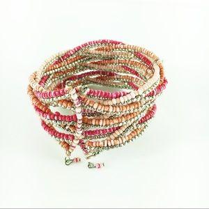 Jewelry - Beach Bead Cuff in Pink Cream Orange Gold